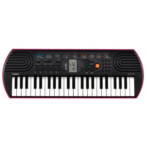 Детский синтезатор Casio SA-78 (44 мини-клавиши) - розовый